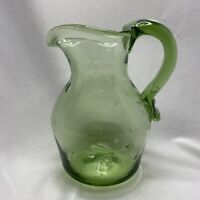 "Vintage Art Glass Green Pitcher Hand Blown Bubbles Pontil Mark Applied Handle 6"""