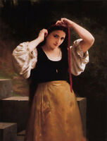 Oil painting Bouguereau - Rustic Bath Young girl with long hair before bath 36""