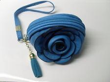 Porte monnaie fleur bleu