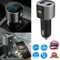 Wireless In-Car Bluetooth FM-Transmitter MP3 Radio Adapter Car Fast USB Charger