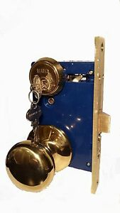 New HUD Double Cylinder Mortise Lock Set Right Hand Polished Brass