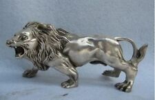 Beautiful  chinese old copper plating silver hand-carved  lion statue c01