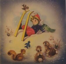Vintage Christmas Greeting Card LOT of 4 GIBSON Child Animals
