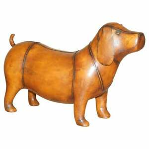 DACHSHUND SAUSAGE DOG OLD STOCK LIBERTY LONDON OMERSA BROWN LEATHER FOOTSTOOL