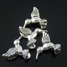 30X Vintage Style Silver Tone Hummingbird Pendant Charms 15*15*5mm
