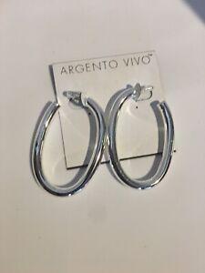 ARGENTO VIVO Sterling Silver Drop Hoop Earrings NEW