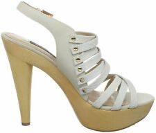 Pilar abril plataforma sandalias de cuero beige