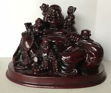 Laughing 11cm Wealth Buddha With 5 Children Meditating Sitting Resin Statue
