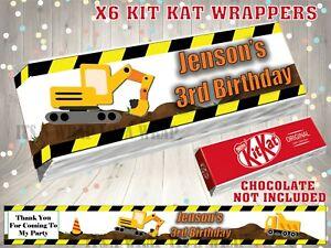 PERSONALISED Building Site Kit Kat KitKat Label / Wrapper Party Bag Filler