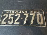 VINTAGE 1936 Maryland Automobile License Plate Tag 252-770 Antique Plate
