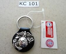 #KC101 Key Chain United States Marine Corps Semper Fi Black Leather Key Ring FOB