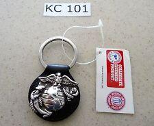 #KC101 Key Chain United States Marine Corps Semper Fi Black Leather Key Ring FOB