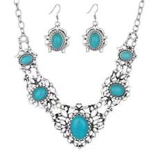 Fashion Womens Bib Turquoise Pendant Chunky Chain Collar Statement Necklace Gift
