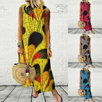 ZANZEA Women Vintage Floral Print Long Maxi Dress Sleeveless Summer Tank Dress