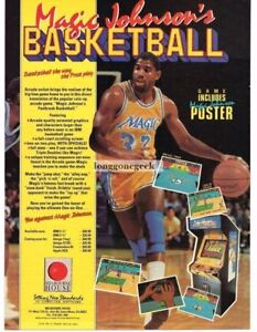 1989 Melbourne House Magic Johnson's Basketball Computer Video Game Vintage Ad