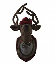 Gisela Graham Christmas Tweed Stag Head Wall Plaque - Christmas Wall Feature