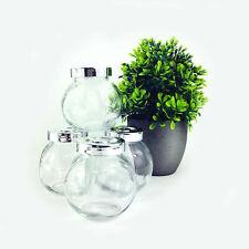 Kitchen Glass Storage Jar Set of 4 Herbs Spices Food Bottles Screw Tops 160ml