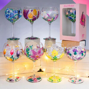 Lynsey Johnstone Hand Painted Copa Gin & Tonic Glasses Cocktail Balloon Glass