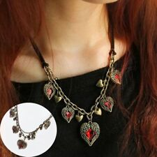 Chain Sweater Necklace Women Accessories Red Gem Vintage Fashion Jewelry