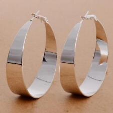 ;Earrings 9ct White Gold GF Hoops Silver 50 mm Gift Summer Wedding holiday