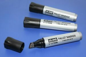 3 Large 1/2 Chisel Tip black Pallet Permanent markers ULINE