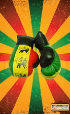 RED GOLD GREEN LION OF JUDAH  MINI BOXING GLOVES  - Hang in your Car - ROOTS