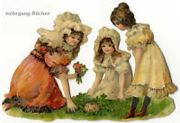 Vintage Victorian die cut paper scrap, Girls discovering chicks from c. 1876