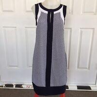 W LANE Black White Lined Sleeveless Dress Keyhole Front Invisible Zipper Size 8