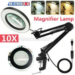 Magnifying Lamp/Light Daylight Magnifier 10X Desktop Table Work Bench Tattoo USB