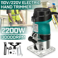"2200W 1/4"" Electric Hand Trimmer Wood Laminate Palm Router Joiners Quick Lock"
