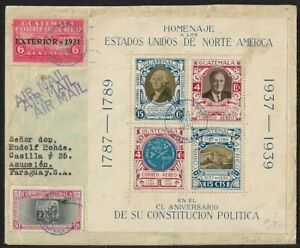 GUATEMALA TO PARAGUAY BLOCK ON AIR MAIL COVER 1931 SCARCE