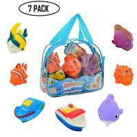 Bath Time 7 Piece Water Squirting Fish Floating Fun Toys for Toddlers Babies