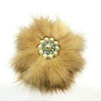 1950's Vintage Fur brooch. Baby Blue Rhinestone Diamanté. Mid Century Jewellery