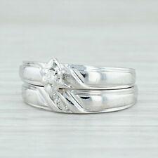 Diamond Bridal Ring Set - 10k White Gold Size 7 Engagement & Wedding Band