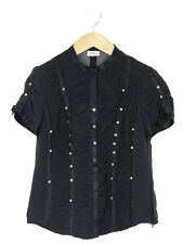 Karen Millen Womens Black Silk Pleated And Studded Blouse Size 12