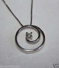 Designer 10k white Gold Diamond swirl circle pendant chain necklace