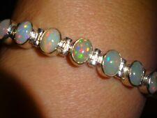 Sterling Silver  Fire Opal Tennis Bracelet 20 cm Hallmarked 925