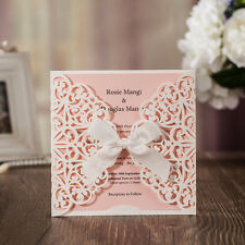 60x Pink Wedding Invitation Cards Kit with Bowknot Custom Personalized Printing
