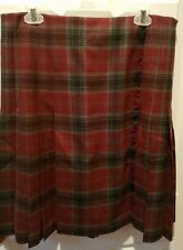 Brooks Brothers Womens Skirt 100% Wool Pleated Fringes Plaid Size 14 Red Gray