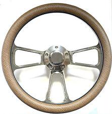 Hot Rod Street Rod Rat Rod Truck Tan Alligator & Billet Steering Wheel & Horn