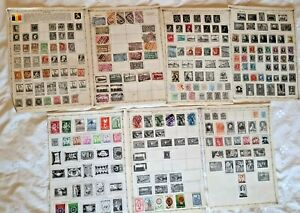 Collection of 160+ Early Belgium Stamps on Album Pages - BARGAIN LOT £3.99