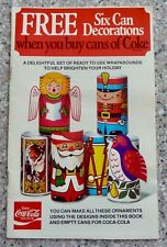 Vintage, 1977 Coca Cola SIX CAN DECORATIONS, Christmas Themed
