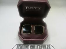 """Vintage"" Getz Jewelers BLACK ONYX+GOLD WOMENS PIERCED EARRINGS***USA 1990"
