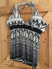 """Black & White Halter Neck Top By New Look Size 10 Chest 34"""" Stretchy"""