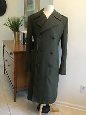 Vtg Marines Military Wool Trench Coat 36R Green Overcoat Patch 100-81-C-2696