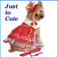 NEW Designer Red Dot Balloon Dog Harness Dress w/Matching Leash  FREE TOY  M