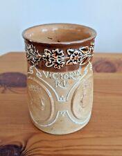 1897 Queen Victoria Diamond Jubilee Doulton Lambeth Stoneware Mug