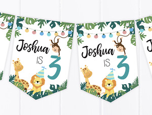 Personalised Jungle Happy Birthday Bunting, Children's Party Banner - Any Age