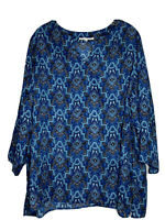 Violet & Claire Multi-Toned Blue Print Split Neck Silky LightweightTunic Size 3X