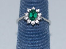 14k White gold ring with Emerald(May birthstone) and CZ diamonds